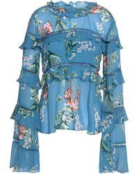 Nicholas - Lattice-trimmed Ruffled Floral-print Silk-chiffon Blouse - Lyst