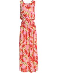 Boutique Moschino - Wrap-effect Smocked Printed Woven Maxi Dress - Lyst