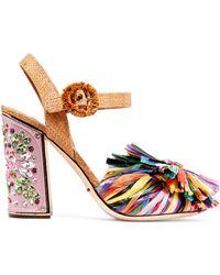 Dolce & Gabbana - Crystal-embellished Raffia Sandals - Lyst
