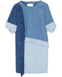 SJYP - Ruffled Paneled Denim Mini Dress - Lyst