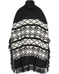 Maje - Fringed Intarsia Knitted Poncho - Lyst