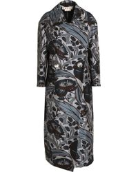 Marni - Double-breasted Floral-print Cotton And Silk-blend Coat - Lyst