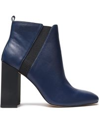 Halston - Woman Leather Ankle Boots Indigo - Lyst