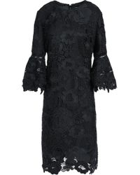 Lela Rose - Woman Fluted Guipure Lace Dress Black - Lyst