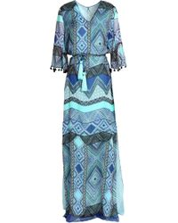 Matthew Williamson - Pom Pom-trimmed Printed Silk-chiffon Maxi Dress - Lyst