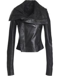 Rick Owens - Ribbed Knit-paneled Leather Biker Jacket - Lyst