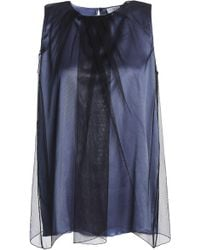 Brunello Cucinelli - Layered Tulle And Satin Top - Lyst