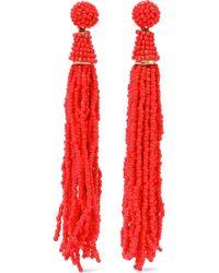 Kenneth Jay Lane - Gold-tone Beaded Tassel Earrings Tomato Red - Lyst