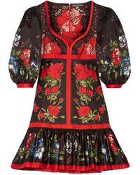 Alexander McQueen - Floral-print Cotton Mini Dress - Lyst