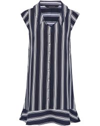 W118 by Walter Baker - Fluted Striped Crepe De Chine Mini Shirt Dress - Lyst