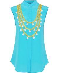 Moschino - Woman Printed Silk Shirt Turquoise - Lyst