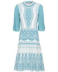 Temperley London - Lattice-trimmed Jacquard-knit Dress Sky Blue - Lyst