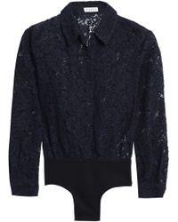 Claudie Pierlot - Cotton-blend Corded Lace And Jersey Bodysuit - Lyst