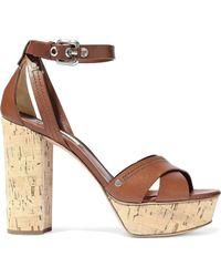 Casadei - Ranger Leather Platform Sandals - Lyst