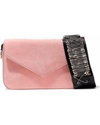 Edie Parker - Melissa Embellished Grosgrain-trimmed Suede Shoulder Bag - Lyst