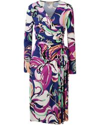 Emilio Pucci - Woman Aruba Wrap-effect Printed Stretch-jersey Midi Dress Indigo - Lyst