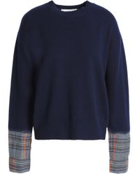 Vanessa Bruno Athé - Paneled Checked Wool-blend Sweater - Lyst