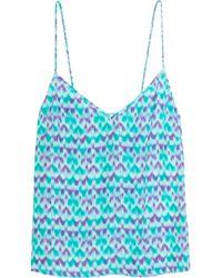 Paloma Blue - Capri Printed Silk-satin Camisole - Lyst