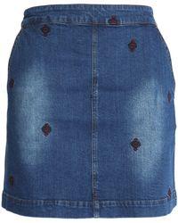 Vanessa Bruno Athé - Embroidered Denim Mini Skirt - Lyst