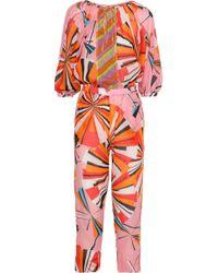Emilio Pucci - Cropped Printed Cotton-gauze Jumpsuit - Lyst