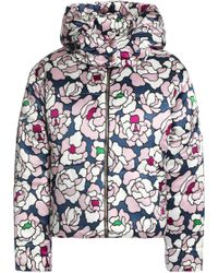 Olivia Von Halle - Quilted Floral-print Silk-satin Hooded Down Coat Lilac - Lyst