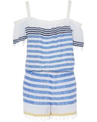 lemlem - Cold-shoulder Striped Cotton-blend Gauze Playsuit - Lyst