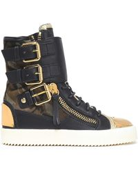 Giuseppe Zanotti - Woman Printed-paneled Leather High-top Sneakers Black - Lyst