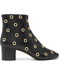 Isabel Marant - Eyelet-embellished Leather Ankle Boots Black - Lyst