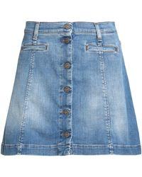 7 For All Mankind - Faded Denim Mini Skirt Mid Denim - Lyst