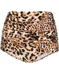 Norma Kamali - Leopard-print Ruched High-rise Bikini Briefs - Lyst
