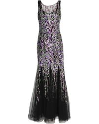 Badgley Mischka - Fluted Floral-embroidered Tulle Gown - Lyst