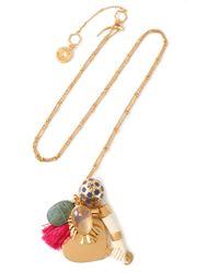 Tory Burch - Gold-tone, Moonstone, Enamel And Tassel Necklace - Lyst