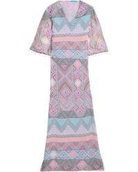 Matthew Williamson - Pom Pom-trimmed Silk-chiffon Maxi Dress Pastel Pink - Lyst