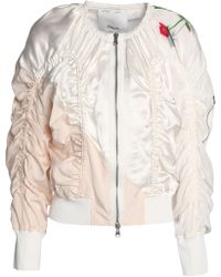 3.1 Phillip Lim - Ruched Printed Silk-satin Bomber Jacket - Lyst
