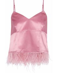 1994d1bd25 Cinq À Sept - Woman Narcissa Feather-embellished Silk-satin Camisole Pink -  Lyst