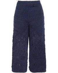 Tabula Rasa - Woman Sahara Macramé Silk And Cotton-blend Culottes Navy - Lyst