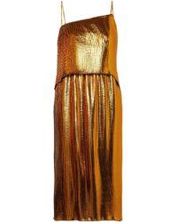 Cedric Charlier - Woman Draped Plissé Lamé Dress Gold - Lyst
