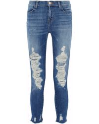 J Brand - Cropped Distressed High-rise Skinny Jeans Mid Denim - Lyst
