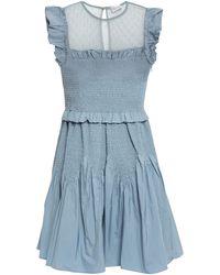 RED Valentino Point D'esprit-paneled Shirred Shell Mini Dress Light Blue