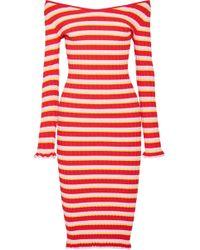 Altuzarra - Socorro Off-the-shoulder Striped Stretch-knit Dress - Lyst