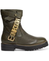 Moschino - Embellished Textured-leather Boots Army Green - Lyst