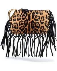 Valentino - Fringe-trimmed Leopard-print Calf Hair Clutch - Lyst