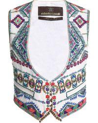 Roberto Cavalli - Embellished Embroidered Canvas Vest - Lyst