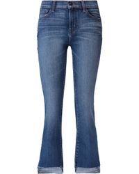 J Brand - Selena Cropped Mid-rise Flared Jeans - Lyst