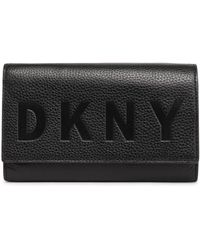 DKNY - Woman Embossed Textured-leather Wallet Black - Lyst