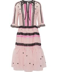 Temperley London - Lace-trimmed Embroidered Cotton And Silk-blend Organza Dress Pastel Pink - Lyst