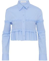 Cedric Charlier - Ruffle-trimmed Shirred Cotton-poplin Top Light Blue - Lyst