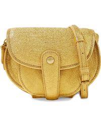 Jérôme Dreyfuss - Jérôme Dreyfuss Woman Metallic Cracked-leather Shoulder Bag Gold - Lyst
