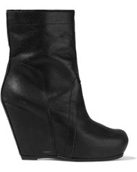 Rick Owens - Brushed-leather Wedge Ankle Boots - Lyst