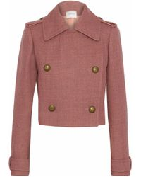 Lanvin - Double-breasted Wool-blend Cloqué Jacket Antique Rose - Lyst